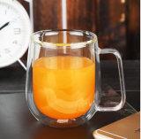 Cuvette en verre transparente de jus de lait de mur de double de tasse de café de résistance thermique
