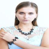 新しいデザイン黒いビードの水晶は方法宝石類のネックレスに投石する