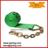 """사슬 늘림 4 """" X 50 ' 녹색에 En12195-2 래치드 결박"""