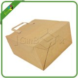 Bolsas de papel impresas maneta plana de encargo de Kraft Brown para el regalo