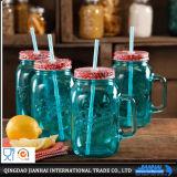 Bouteille en verre ambrine de boissons avec le couvercle et le traitement