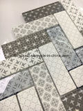 白いインクジェット印刷のヘリンボンガラスモザイク・タイル