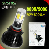 Luces principales de los pares 80With8000lm LED para los coches 9005/9006 con 6000k amarillo/azul/blanco del tubo de color