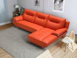 Sofá vermelho do couro genuíno na mobília da sala de visitas (M331)