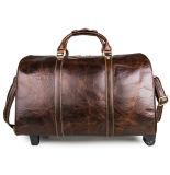 La retro corsa di qualità superiore del cuoio genuino di stile insacca la valigia