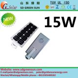 15W todo en una luz de calle solar de Integerated LED
