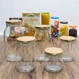 Fábrica Atacado Alta qualidade Bamboo Clamp Lid Food Storage garrafa de vidro (100044)