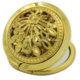 Круглое вытравленное зеркало косметики золота