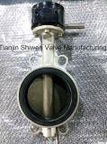 Válvula de borboleta da bolacha do aço inoxidável de API/DIN/JIS com engrenagem de sem-fim