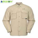 Manga de secado rápido al aire libre de los hombres camisa largo