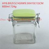 食糧ガラスシールの瓶、ふたが付いている記憶のガラス容器