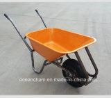 Carrinho de mão de roda forte da construção da bandeja do metal com roda pneumática