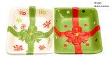 Plato de cerámica del caramelo de 3 divisorias para la Navidad