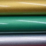 Couro de sapata Shining sintético de couro do plutônio Lichee da patente da grão do Litchi