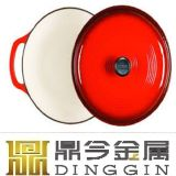 28X21cmのエナメルの鋳鉄のふたが付いている楕円形のカセロールソース鍋