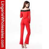 Comfor der Form-Frauen Sleepwear-lange Hülse weg von Schulter-Pyjama-gesetzter reizvoller Wäsche