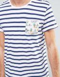 파란 도매 남자 및 포켓을%s 가진 백색 줄무늬 t-셔츠