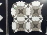 Mosaico Waterjet da forma de mármore branca branca da flor de Thassos da mistura de Carrara