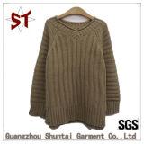 Chandail tricoté bon marché simple de sergé de dames en gros