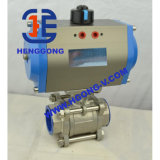 API/DIN Pneumatic Stainless Steel 304 Three Way Ball Valve