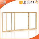 ventana de desplazamiento de aluminio del marco del acabamiento de madera del color 3D, ventana de desplazamiento de aluminio de la rotura termal para la casa residencial
