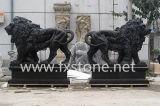 切り分けられた大理石のライオンの石造りのライオンの大理石動物の石造り動物