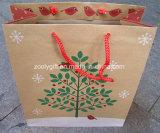 La Navidad del diseño del brillo recicla el bolso del regalo del papel de Brown Kraft