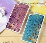 Caisse liquide dynamique de téléphone de sable mouvant de sable d'étoile de cas de couverture arrière de portable de 2016 espaces libres pour de mini caisses de téléphone de Huawei P8/P8 Lite P8