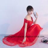 A dama de honra elegante de Tulle do laço da garganta do barco veste o vestido do banquete de casamento