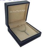 Большая деревянная кожаный коробка индикации упаковки подарка ювелирных изделий кольца