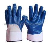 Gants enduits de nitriles bleus de doublure de coton du Jersey avec ouvert en arrière