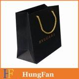 Saco de compra de papel reusável verde com logotipo de Hotstamping do ouro