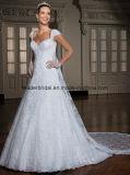 Vestidos nupciais Z2052 da luva longa do laço dos vestidos de esfera do casamento do retrato
