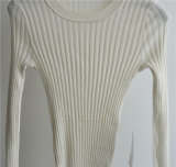 Camisola redonda do Knit da garganta das mulheres de lãs de 100%