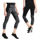 3/4 de ginástica da aptidão do comprimento arfa calças Running firmemente cabidas da ioga do exercício para mulheres