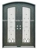 Portas principais da entrada decorativa superior quadrada do dobro do ferro feito do projeto
