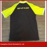 中国の方法メンズシルクスクリーンによって印刷されるポロカラーTシャツの100%年の綿のTシャツ(P126)