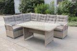 セット(MTC-282)を食事する屋外の藤の庭の家具の一定のテラスの家具の柳細工の角のソファー