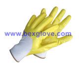 Наполовину Coated перчатка, перчатка нитрила безопасности