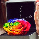 El mantiene colorido de las rosas florece el rectángulo de regalo