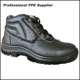 Zapatos de seguridad de acero de la punta de la inyección de la PU del cuero genuino