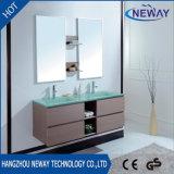 Мебель ванной комнаты нового двойника меламина самомоднейшая с стеклянным тазиком