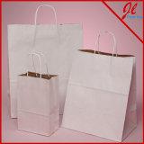 El blanco/la manija reciclada Versa de Kraft empaqueta bolsos sólidos del regalo de Kraft