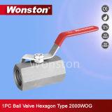 1-PC válvula de bola Hexágono Tipo, Reducir el agujero, 2000wog