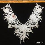 tela do laço do aparamento do colar da forma Hml8635 da franja V da flor da senhora Desgastar Laço Guarnição Elegante do poliéster da forma de 40*35cm