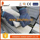 Luvas pontilhadas PVC azuis Dkp229 do algodão da segurança