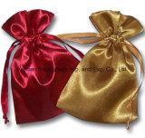 Fördernder kundenspezifischer kleiner Drawstring-Polyester-Satin-Gewebe-Schmucksache-Geschenk-Beutel