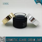 frasco de pedreiro de vidro 100ml da máscara facial preta do cilindro 100g