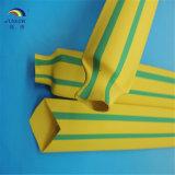Funda de la etiqueta de plástico de Indentify del alambre y del cable del encogimiento del calor del verde amarillo