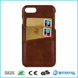 Couverture arrière de caisse de cuir avec des slots pour carte pour l'iPhone 7/7 positifs